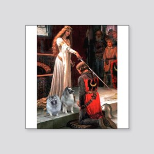 """The Accolade - Two Keeshonds Square Sticker 3"""""""