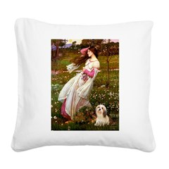 Windflowers / Lhasa Apso #4 Square Canvas Pillow