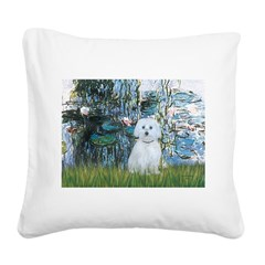 Lilies #1 - Maltese (B) Square Canvas Pillow