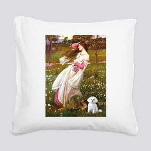 Windflowers / Maltese Square Canvas Pillow