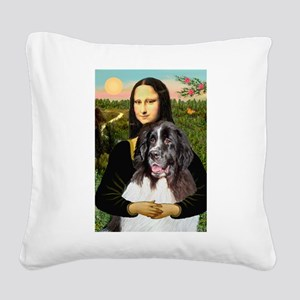 Mona Lisa's Landseer Square Canvas Pillow
