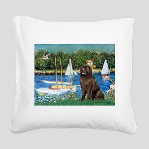 Sailboats & Newfoundland Square Canvas Pillow