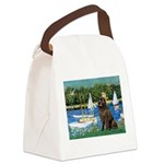 Sailboats & Newfoundland Canvas Lunch Bag