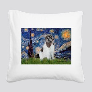 Starry Night / Landseer Square Canvas Pillow