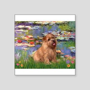 "Lilies /Norfolk Terrier Square Sticker 3"" x 3"""