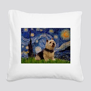 Starry /Norwich Terrier Square Canvas Pillow