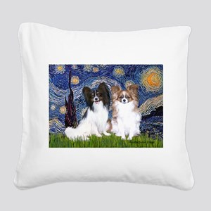 Starry / 2 Papillons Square Canvas Pillow