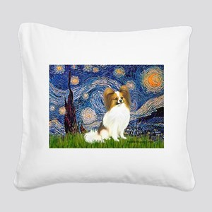 Starry Night Papillon (f) Square Canvas Pillow