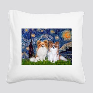 Starry Night & Papillon Square Canvas Pillow