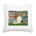 Lilies & fawn Papillon Square Canvas Pillow
