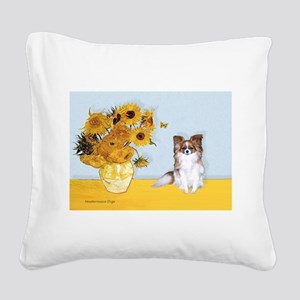 Sunflowers / Papillon(f) Square Canvas Pillow