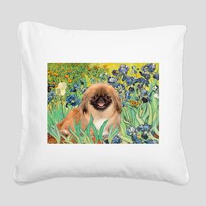 Irises / Pekingese(r&w) Square Canvas Pillow