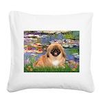 Lilies / Pekingese(r&w) Square Canvas Pillow