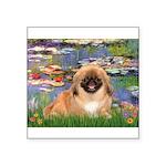 Lilies / Pekingese(r&w) Square Sticker 3