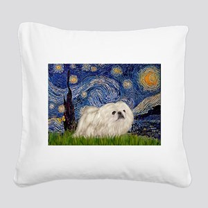 Starry / Pekingese(w) Square Canvas Pillow