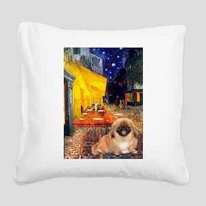 Cafe /Pekingese (r) Square Canvas Pillow