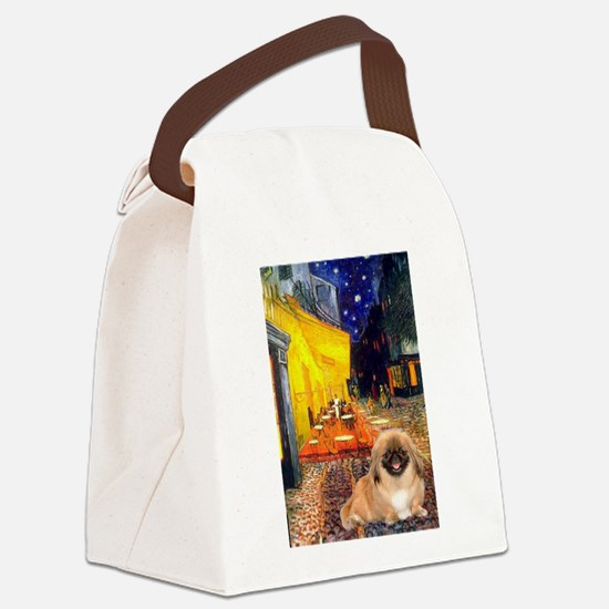 Cafe /Pekingese (r) Canvas Lunch Bag