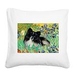 Irises / Pomeranian(bb) Square Canvas Pillow