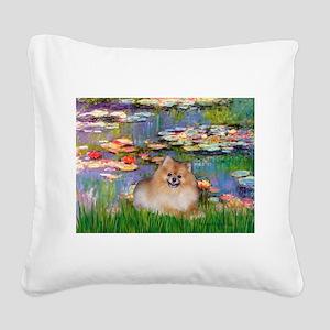 Lilies2/Pomeranian #4 Square Canvas Pillow