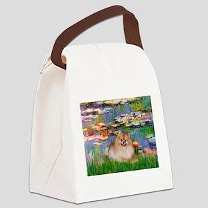 Lilies2/Pomeranian #4 Canvas Lunch Bag