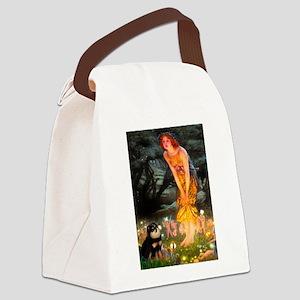 Fairies / Pomeranian (b&t) Canvas Lunch Bag