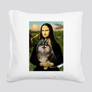 Mona and her Parti Pom Square Canvas Pillow