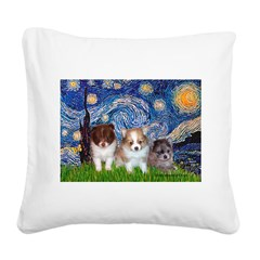 Starry-Pom PUPPY TRIO.png Square Canvas Pillow