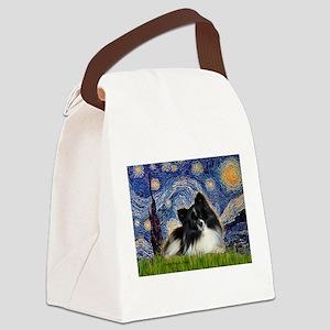 Starry Night / Pomeranian (b&w) Canvas Lunch Bag