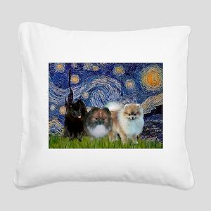 Starry/3 Pomeranians Square Canvas Pillow