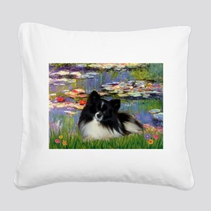 Lilies / Pomeranian (b&w) Square Canvas Pillow
