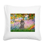 Garden / Poodle (Silver) Square Canvas Pillow