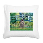 Bridge / Poodle (Silver) Square Canvas Pillow