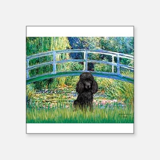 "Bridge / Poodle (Black) Square Sticker 3"" x 3"""