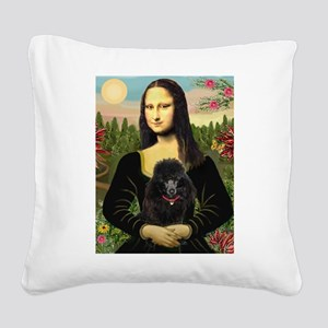 Mona / Poodle (bl) Square Canvas Pillow