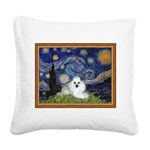Starry Night / Poodle(w) Square Canvas Pillow