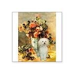 Vase / Poodle (White) Square Sticker 3