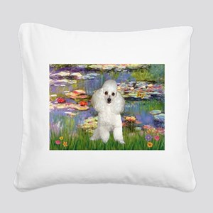 Lilies /Poodle (w) Square Canvas Pillow