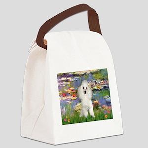 Lilies /Poodle (w) Canvas Lunch Bag