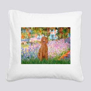 Garden/Std Poodle (apricot) Square Canvas Pillow