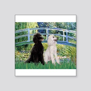 "Bridge / Std Poodle (pr) Square Sticker 3"" x 3"""