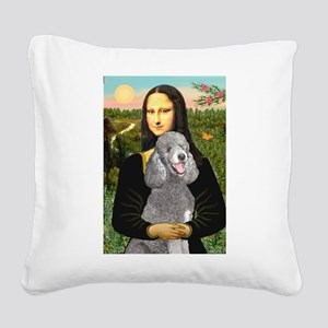 Mona Lia/Std Poodle (silver) Square Canvas Pillow