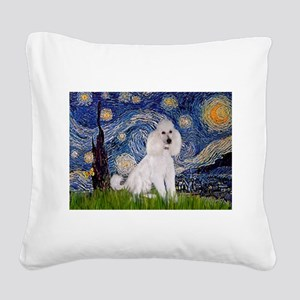Starry Night / Std Poodle(w) Square Canvas Pillow