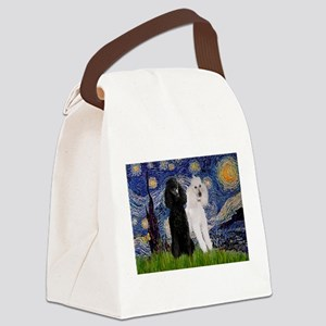 Starry Night / 2 Poodles(b&w) Canvas Lunch Bag