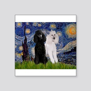 "Starry Night / 2 Poodles(b&w) Square Sticker 3"" x"