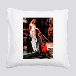 Accolade / 2 Poodles(b&w) Square Canvas Pillow