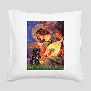 Mandolin Angel / Black Pug Square Canvas Pillow