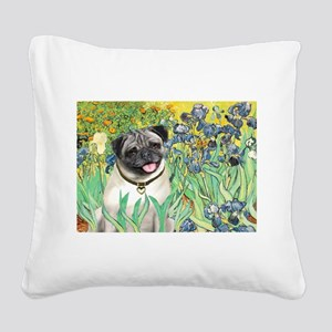 Irises / Pug Square Canvas Pillow