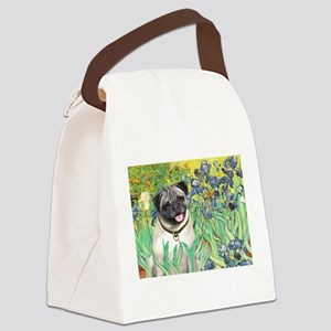 Irises / Pug Canvas Lunch Bag