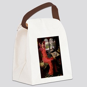 Lady / Black Pug Canvas Lunch Bag