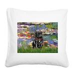 Lilies (#2) & Black Pug Square Canvas Pillow